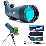 20-60x80 Spotting Scope with Tripod, Carrying Bag and Smartphone Adapter - HD Waterproof Birdwatching Monocular Scope for Safari Sightseeing Stargazing Archery Camping Wildlife Scenery
