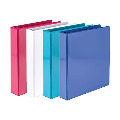 Samsill 1.5 Inch Round Ring Binders/Customizable Clear View Binder/Bulk Binder 4 Pack / 3 Ring Binder / 1.5 Inch Binder/Fashion Color Assortment (MP28598)