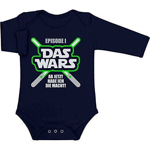 Shirtgeil DAS Wars, jetzt Habe ich die Macht - Baby Geschenk Fans Baby Langarm Body 3-6 Monate Marineblau