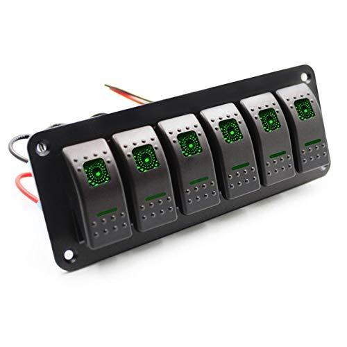 XXYHYQHJD 12 / 24V 6 Gang, Coche Barco RV Llave de Luces Panel de luz LED a Prueba de Agua Interruptor basculante del vehículo Panel del zócalo del alumbrador (Color : Verde, Size : Gratis)