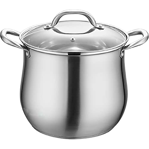 Household 304 Stainless Steel Soup Pot, Extra-high with Double Bottom and Thick Stew Pot Cookware Kitchen Pots Hot Pot 2.5-9L (Capacity : 5.5L Dia 22CM)