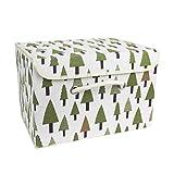 Aufbewahrungsbox Kinder, Aufbewahrungskiste mit Deckel Spielzeug Organizer, Faltbar Aufbewahrungskorb für Kleidung, Faltbox Spielzeugkiste Vorratsbehälter aus Baumwollgewebe (tree) 38 * 25 * 25cm