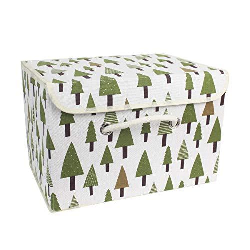 Aufbewahrungskiste Spielzeugkiste Faltbar Aufbewahrungsbox mit Deckel, Kinder Spielzeug Organizer Aufbewahrungskorb für Kleidung Faltbox Vorratsbehälter aus Baumwollgewebe (tree) 35 * 28 * 28cm