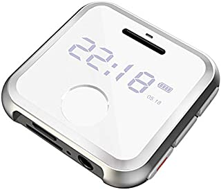 RONSHIN H-R300 0.9inch Screen Mini Metal Mp3 Player Entry-Level Music Players with FM Radio Voice Recorder White 8GB