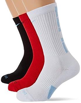 Nike Elite Crew Basketball Socks 3-Pair Pack Multicolor 2 LG  Men s Shoe 8-12 Women s Shoe 10-13
