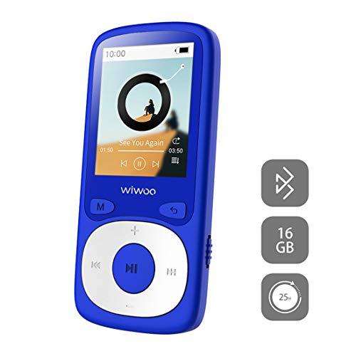 Wiwoo 16GB MP3 Player Bluetooth, MP3 Musikplayer mit Hi-Fi verlustfreier Klangqualität, 1.8\'\' TFT-Bildschirm, Kopfhörer, Radio, Sprachaufzeichnung, erweiterbare 128GB TF Karte