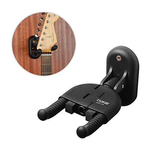 Muslady Percha de Guitarra Bloqueo Automático Plegable Gancho de Soporte de Montaje en Pared para Guitarras Acústicas Eléctricas Bajo Ukelele Instrumento de Cuerda