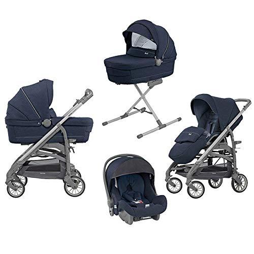 Inglesina Trio Trilogy mit Rahmen City Schiefer, Stand Up, Welcome Pad, Babywagen, Kinderwagen und Babyschale imperial blue