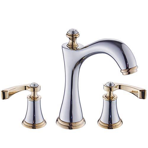 Rebily Im europäischen Stil Goldener Waschbecken Badezimmer-Schrank-Hahn, DREI-Loch-Doppel-Griff-Hahn-Lack auf Wasserhahn (Color : Silber)