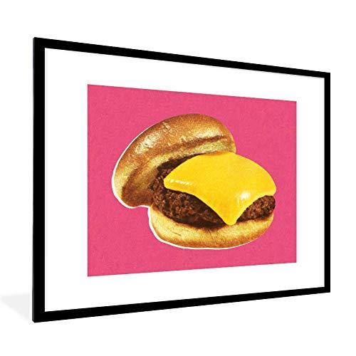Foto in lijst - Broodje hamburger op roze achtergrond fotolijst zwart met witte passe partout 60x80 80x60 cm - Poster in lijst (Wanddecoratie woonkamer/slaapkamer)