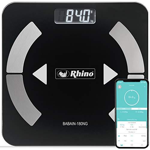 Rhino BABAIN-180 NG Bascula digital con bluetooth para el análisis de grasa corporal, 9 datos analizados, 24 usuarios y modo pesaje de bebés.