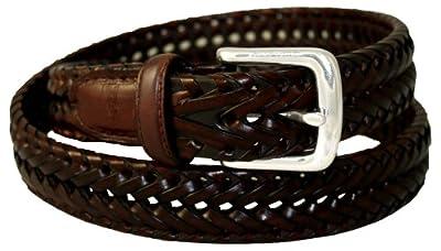 Dockers Men's Dockers 32mm Woven Leather Belt,Tan,44