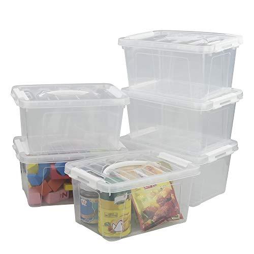 Minekkyes Contenedor de Plastico, Juego de 6 Caja De Almacenaje con Asas (Blanco)