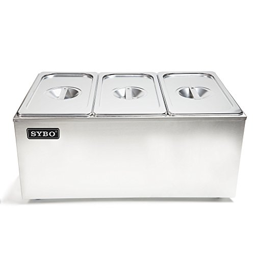 SYBO ZCK165A-3 Commercial Grade Stainless Steel Bain Marie Buffet Food Warmer Steam Table for Catering and Restaurants, 3 Sections, Brushed Finish