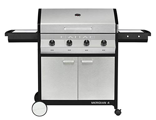 Cadac, 2-Door Cart, and Side Tables, Stainless Steel, 98512-41-01-US Meridian 4 Propane Gas BBQ Grill with 4 Burners Grills Propane