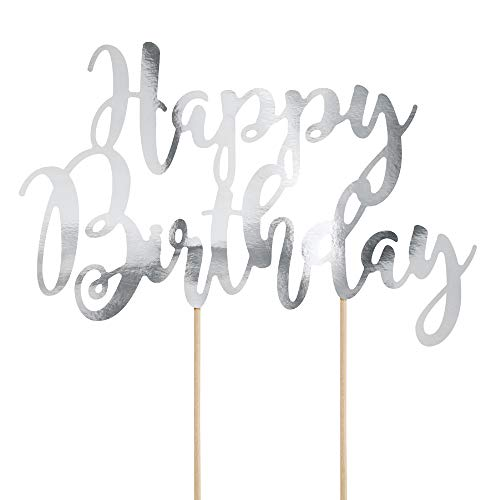 DekoHaus Cake-Topper Kuchendeko - Tortendekoration (Happy Birthday Silber)