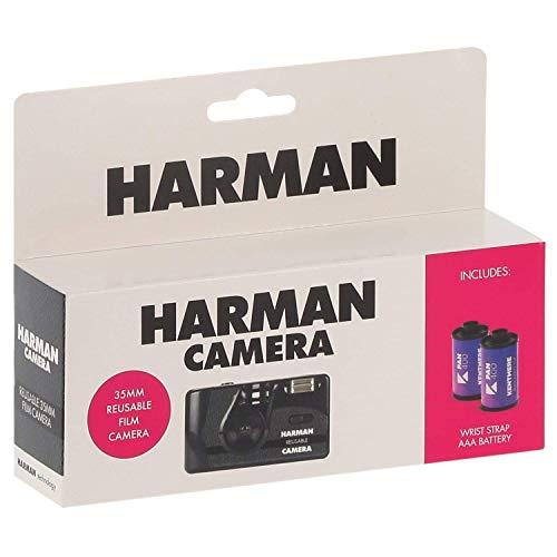 Harman Einwegkamera, wiederaufladbar, mit 2 Filmen N&B, 36 Aufnahmen.