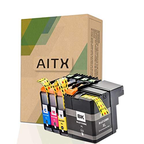 AITX LC129XL LC125XL Cartuchos de Tinta Compatible con Brother MFC-J6520DW, MFC-J6720DW, MFC-J6920DW, para Brother LC129XLBK LC125XLC LC125XLM LC125XLY LC129XLVALBP Cartuchos, Paquete de 4