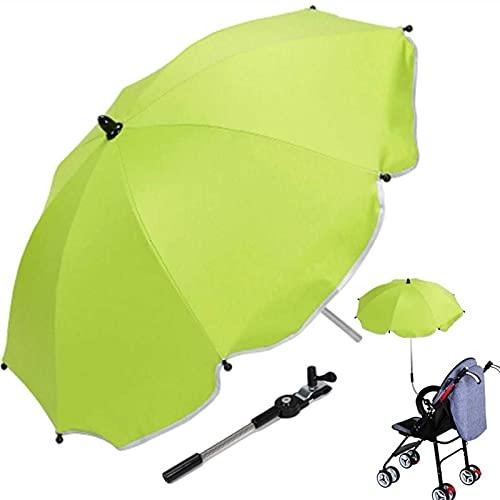 XDXDO Cochecito de bebé Parasol Protección UV Paraguas Ajustable Sombrilla Parasol Universal PRAM Umbrella para sillas de Ruedas, cochecitos, sillas de Ruedas,Verde