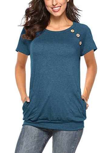 NICIAS Damen Sommer T-Shirt Kurzarm Oberteil Shirt Lässige Schaltflächen Hemd Bluse Tunika Top mit Taschen Blau 02 Medium