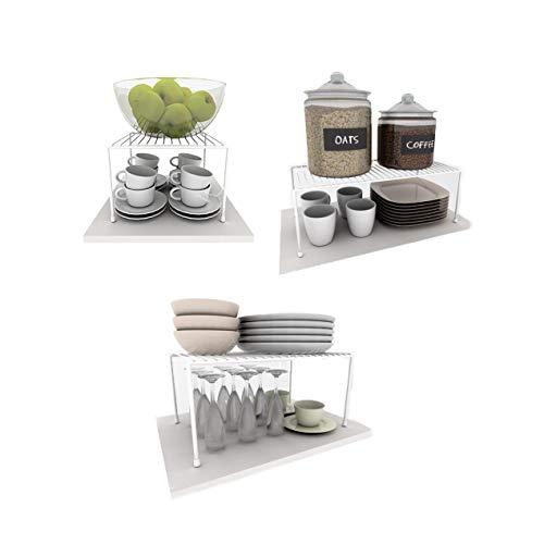 Kit Organizador Armário Cozinha Prateleira Aramado Aço 3 Un (Branco)
