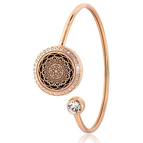 House Of Anaya Serenity Essential Oil Diffuser Bracelet   Charm Bracelet   Aromatherapy Jewellery   316L Surgical Grade Stainless Steel   Relaxation Gifts for Women  10 Washable Insert Pads