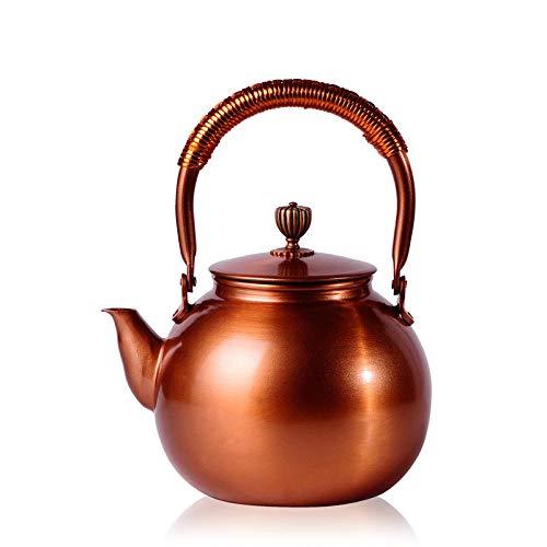 TYURC 1.2L tetera de cobre tetera tetera juego de té artículos de cobre olla tetera-1.2L