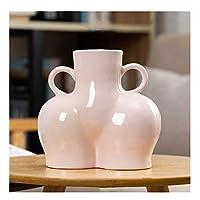 花瓶とテーブル 創造的な北欧のセラミックシミュレーションボディアートドライフラワー植物の配置花瓶装飾ホームデコラート装飾品 寝室の装飾 (Color : H)