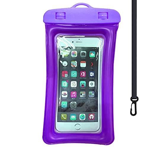 Bolsa impermeable 2 unids flotante bolsa impermeable natación bolsa teléfono móvil caso 12x20x10.5cm púrpura
