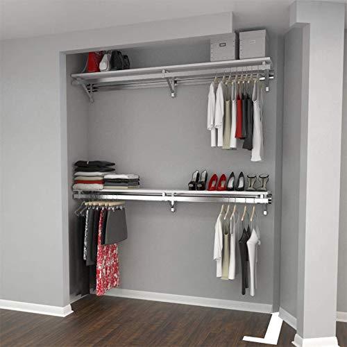 Arrange A Space RCMBX Premium 60 Top and Bottom ShelfHang Rod Kits White Closet System