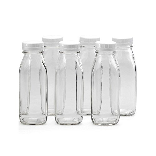 10 Pack - Glass Water Milk Bottles 1 Pint with Twist Caps for Water, Milk, Juices, Beverages, 16 Ounce Each, Reusable Dairy Bottles, Glass and Drink Ware, By California Home Goods