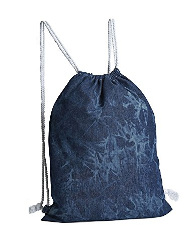 3 bolsas de mochila, tela vaquera, óptica de batik, 100% algodón, tamaño 44 x 34 cm, mochila de algodón, bolsa juvenil