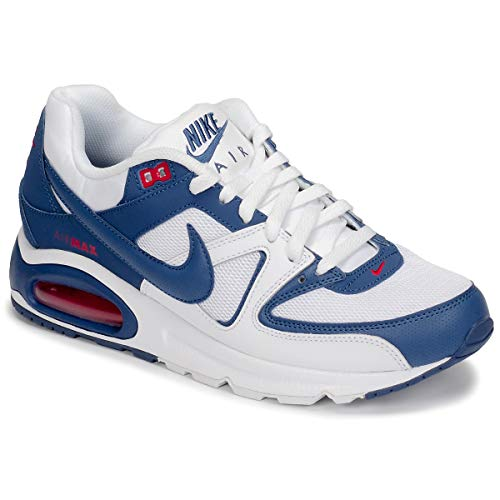 Nike Air MAX Command, Sneaker Mens, White/Mystic Navy-Cardinal Red, 47 EU