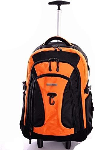 samantha Traveling backpack Trolley Ultra Light Scroll Wheel Business Travel Notebook System Trolley Backpack Orange Suitcase Suitcase Bag Large Capacity (Color : Orange, Size : 54 * 33 * 27cm)