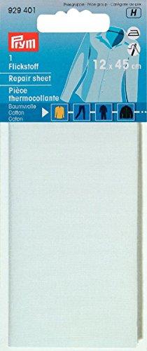 Prym 929401, Tela de parche CO (para planchar) 30x10 cm, color Blanco, 12 x 45 cm