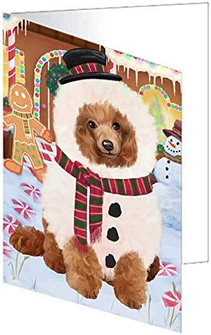 Christmas Gingerbread House Candyfest New sales Poodle G Card Dog Sacramento Mall Greeting