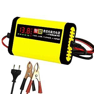 KKmoon Cargador de Baterias 12v, 2A Cargador Inteligente 3 Etapas Plomo ácido AGM GEL Pantalla LCD de Motocicleta Automóvil