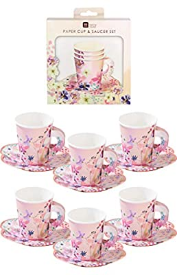 """Talking Tables BG-CUPSET Blossom Party Paper Tea Cups, Pack of 12, Height 8cm, 3"""", Pink and Gold"""