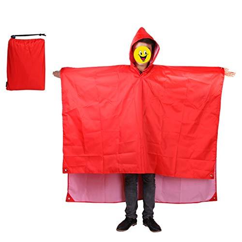 Mochila Impermeable Abrigo De Lluvia Impermeable Con Capucha Senderismo Ciclismo Ropa De Lluvia Poncho Al Aire Libre Camping Tienda Tienda Impermeable (Color : Red)