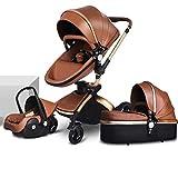 TXTC 3 En 1 Carro De Bebé, sillas de Paseo,Absorción De Golpes, Canasta Ergonómica para Dormir, Rotación De Altas Paisajes360 °, Cochecito De Cochecito Plegable para Bebés Y Niños Pequeños
