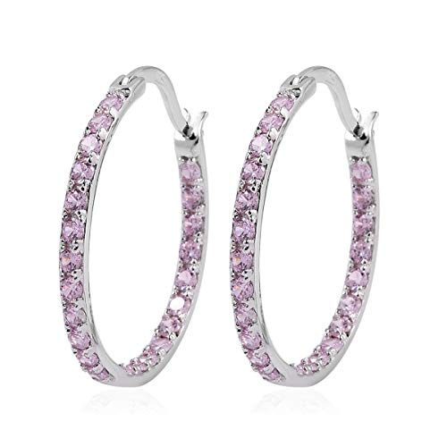 925 Sterling Silver Womens Pink Cubic Zirconia CZ Hoop Earrings Inside Out Hypoallergenic Hoops Rhodium Plated Prom Fashion Jewelry for Women Graduation Gifts for Her Cttw 1.6