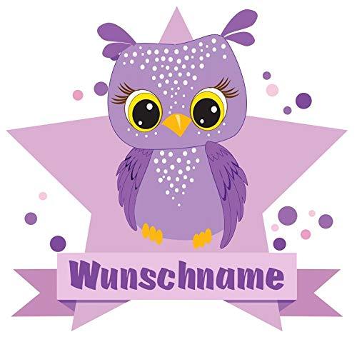 Samunshi® Lila Eule Aufkleber mit Namen Autoaufkleber Namensaufkleber Kinder in 7 Größen (10x8,8cm Mehrfarbig)