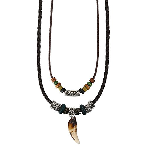 Aroncent Tribe Adjustable Ethnic Hemp Leather Wood Beads Beaded Choker Necklace,Black,Wolf Tooth Pendant