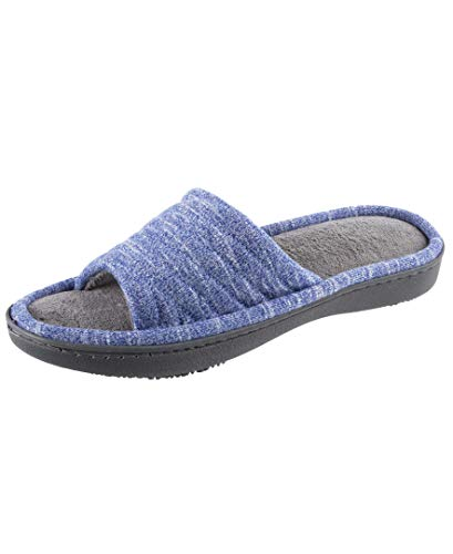 isotoner Women's Space Dyed Andrea Slide Slipper with Moisture Wicking for Indoor/Outdoor Comfort and Arch Support, Sapphire, 9-10
