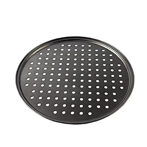 AUCDK Perforated Pizza Tray Non Stick Baking Tray Pizza Pan Non Stick Carbon Steel Professional Bakeware 32cm