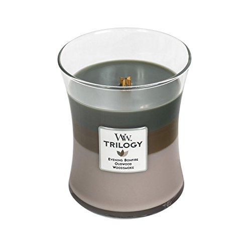 WoodWick Trilogy COZY CABIN, 3-in-1 Highly Scented Candle, Classic Hourglass Jar, Medium 4-inch, 9.7 oz
