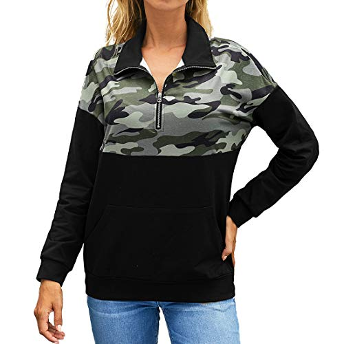 YJNH Women's Pullover Patchwork Print Long Sleeve 1/4 Zipper Stand-up Collar Sweatshirt Spring, Autumn and Winter New Casual Fashion Kangaroo Pocket Streetwear Outdoor Travelling Walking Camping S