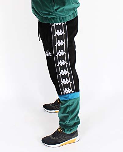 Kappa Serena Auth Pants Pantalón, Hombre, Black/Green dk/turq, S