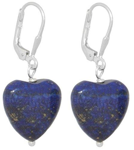 ERCE lapislázuli piedra semipreciosa pendientes corazón, plata de ley 925