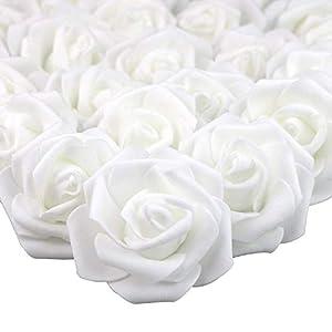 MEJOSER 50pcs Flores Rosas Artificiales en Espuma Cabezas de Rosa 7cm Decoración Boda Fiesta Hogar Manualidades Azul…